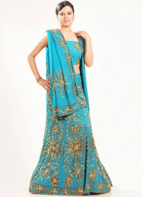 Dainty Fancy Blue Faux Georgette Lehenga Choli