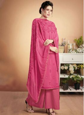 Dainty Muslin Embroidered Hot Pink Designer Palazzo Suit