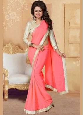 Dainty Patch Border Work Faux Georgette Classic Saree