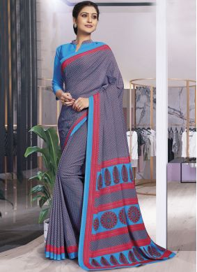Dainty Printed Multi Colour Polly Cotton Casual Saree