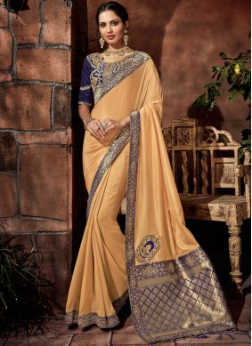 Dainty Satin Silk Yellow Embroidered Classic Saree