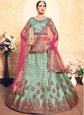 Dainty Sea Green Stone Trendy Lehenga Choli