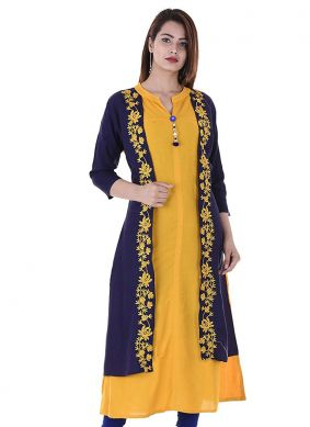 Dashing Embroidered Mehndi Designer Kurti