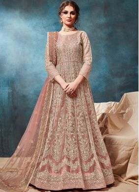 Dashing Peach Festival Trendy Anarkali Salwar Suit