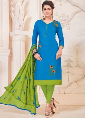 Dazzling Embroidered Blue Cotton   Churidar Suit