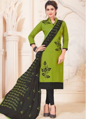 Dazzling Embroidered Casual Churidar Suit