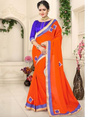 Dazzling Orange Patch Border Faux Chiffon Classic Designer Saree