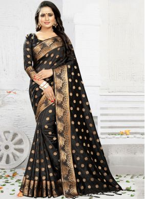 Delectable Black Weaving Silk Saree
