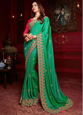 Delectable Georgette Satin Green Patch Border Classic Designer Saree