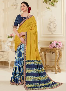 Delectable Multi Colour Abstract Print Fancy Fabric Printed Saree