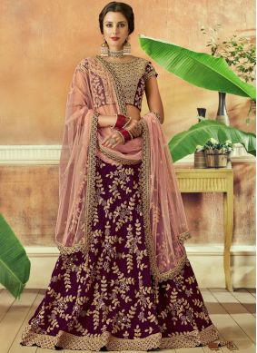 Delectable Resham Wine Lehenga Choli