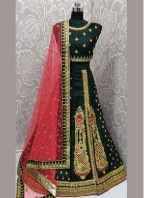 Delectable Zari Art Silk Green Lehenga Choli
