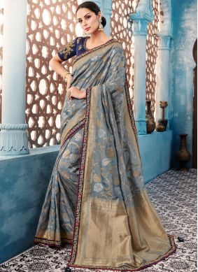 Delightful Grey Designer Saree