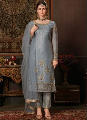 Delightful Grey Embroidered Designer Pakistani Salwar Suit