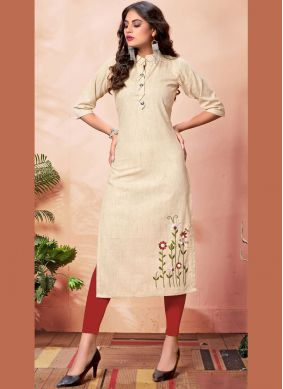 Demure Cream Embroidered Cotton Party Wear Kurti