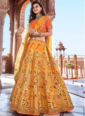 Demure Embroidered Banarasi Silk Trendy A Line Lehenga Choli