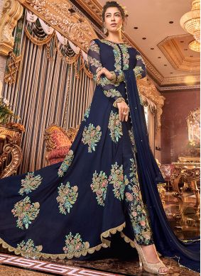 Demure Embroidered Satin Silk Anarkali Suit