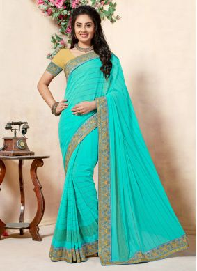 Demure Embroidered Turquoise Classic Saree
