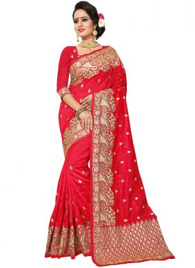 Demure Red Art Silk Traditional Saree