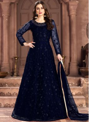 Demure Sequins Blue Anarkali Salwar Suit