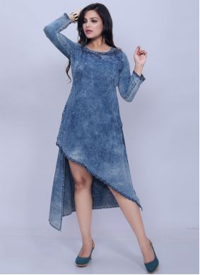 Denim Designer Kurti in Grey