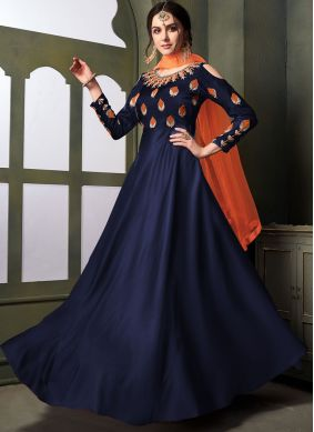 Deserving Embroidered Blue Anarkali Salwar Suit