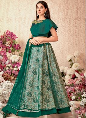 Deserving Embroidered Green Net Designer A Line Lehenga Choli