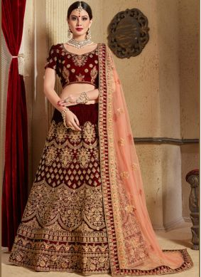 Deserving Embroidered Work Maroon Lehenga Choli