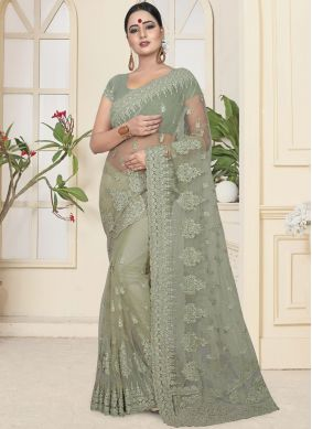 Deserving Net Embroidered Traditional Saree