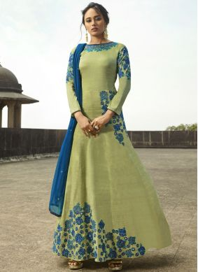 Deserving Resham Green Floor Length Anarkali Suit