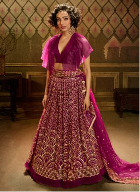 Pink Designer A Line Lehenga Choli For Ceremonial