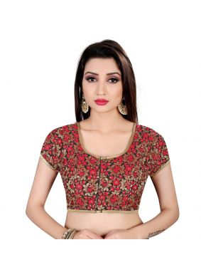 Designer Blouse Embroidered Brocade in Black and Red
