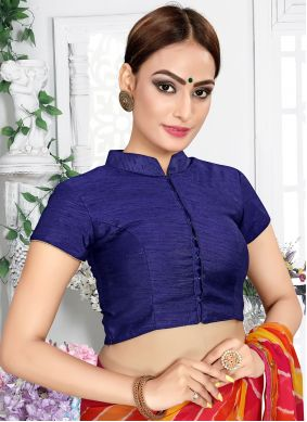Designer Blouse Embroidered Raw Silk in Navy Blue