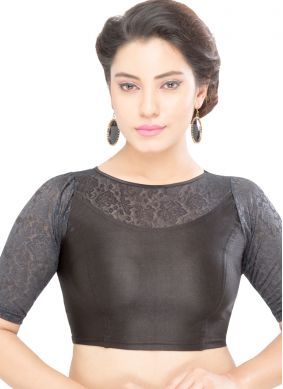 Designer Blouse Plain Shimmer in Black