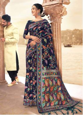 Blue Designer Contemporary Style Saree For Reception