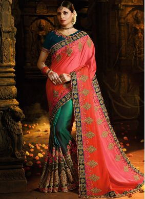 Designer Half N Half Saree Embroidered Silk in Rose Pink