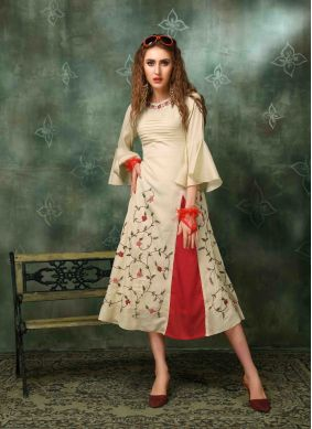 Designer Kurti Embroidered Muslin in Cream