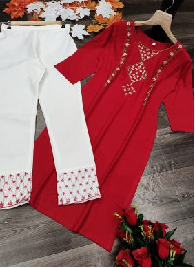 Designer Kurti Embroidered Rayon in Red