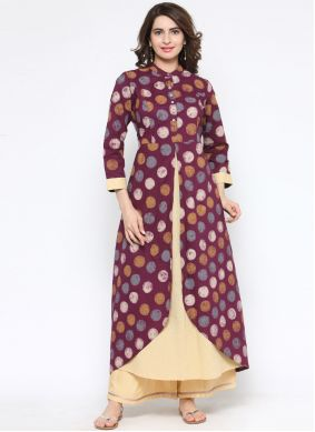 Designer Kurti Print Cotton in Cream