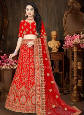 Designer Lehenga Choli Embroidered Satin in Red