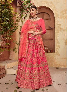 Designer Lehenga Choli Embroidered Satin Silk in Rose Pink