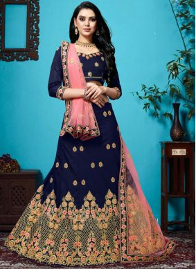Designer Lehenga Choli Embroidered Velvet in Blue