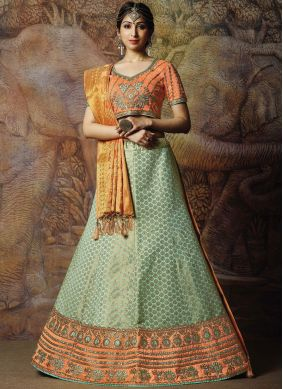 Designer Lehenga Choli Zari Jacquard Silk in Sea Green