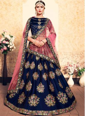 Designer Lehenga Choli Zari Satin in Navy Blue
