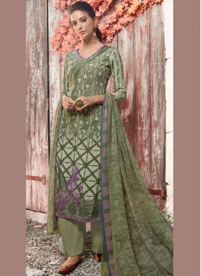 Designer Pakistani Suit Abstract Print Faux Crepe in Green