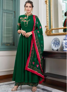 Designer Palazzo Salwar Suit Embroidered Maslin Silk in Green