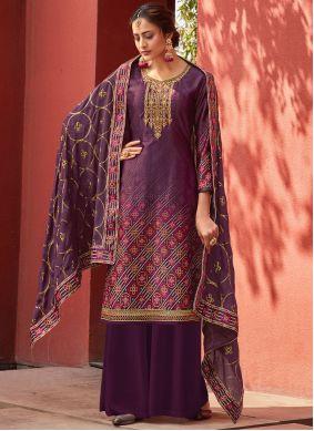 Designer Palazzo Salwar Suit Embroidered Satin in Purple
