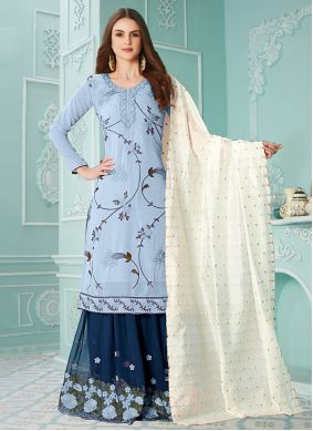 Designer Palazzo Suit Embroidered Faux Georgette in Blue