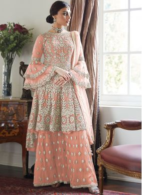 Designer Palazzo Suit Embroidered Net in Peach