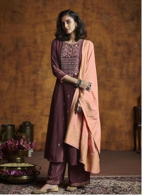 Designer Palazzo Suit Embroidered Silk in Wine